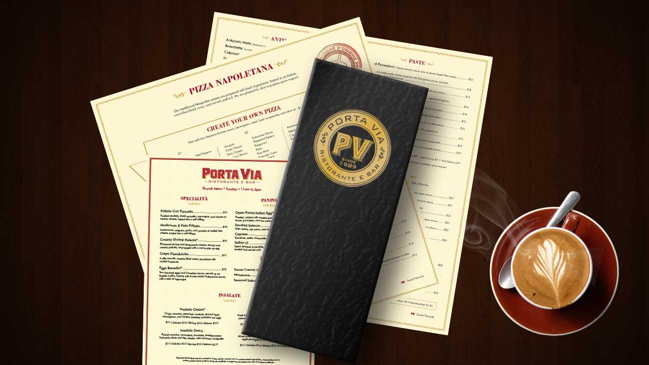 Porta Via Ristorante menu design