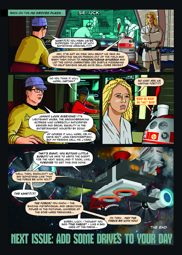 Siemens Drives Champion comic book page illlustration